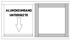 Spannrahmen mit Fliegengitter: Aluminiumstreifen Unterseite Spannrahmen platzieren